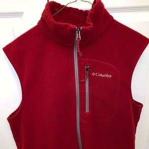 Men's Columbia Fleece Vest - Red - Size M
